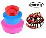 rosepartyh Silikon Kuchenform Runde Backform BPA-frei Antihaft-Backformen Pfanne 4 Zoll 6 Zoll 8 Zoll 3 Stück
