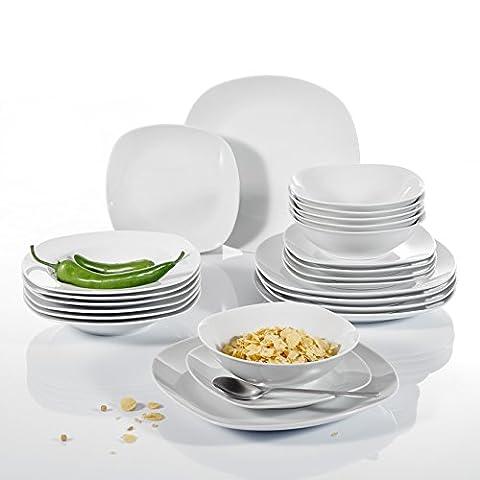 Malacasa, Series Elisa, 24-Piece Cream White Porcelain Dinner Combi-Set with