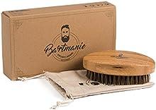 Barba manía Barba Cepillo para cuidado Barba de madera de bambú con pelo auténtico cerdas del Cerdo en caja de regalo