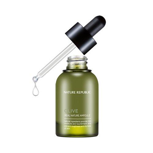 Nature Republic - Real Nature Olive Ampoule - Feuchtigkeitsserum / Gesichtsserum mit hochwertigem konzentriertem Olivenöl zur Regeneration und Reparatur der Hautzellen für Frauen und Männer - Feuchtigkeitsspendende Textur für trockene, normale, fettige Haut / Mischhaut - Tagespflege - Gesichtspflege