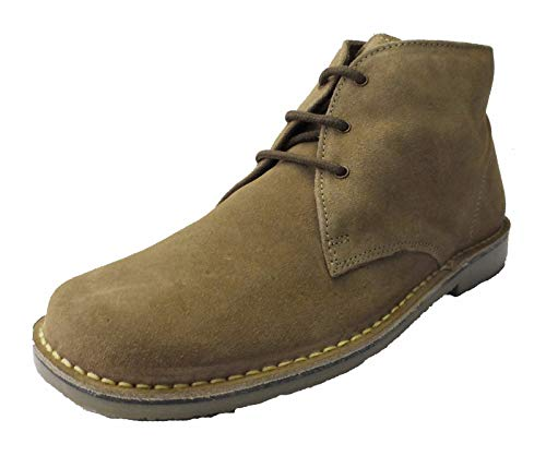 Roamer Men's 3 Eye Square Toe Suede Leather Desert Boots 10 UK Sand (Square Toe Black Boots)