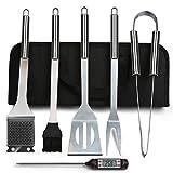 BIFY 6 in 1 Grillbesteck Koffer + BBQ Thermometer Edelstahl Grillbesteck-Set 6-Teile im Aluminium BBQ Grill Zubehör mit Tragetasche