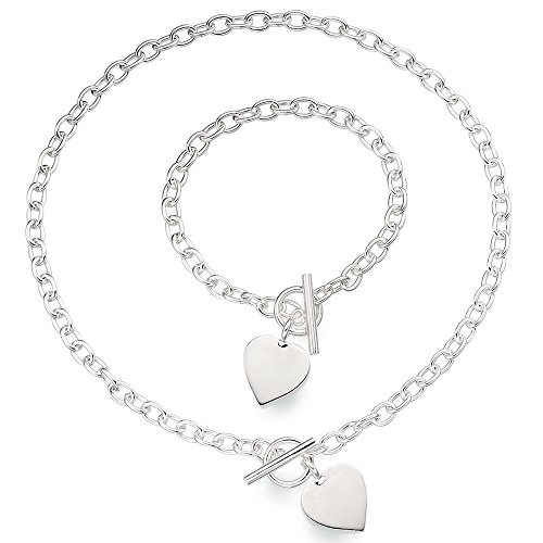 Anhänger Herz Toggle T Bar Rolo Tag Halskette und Armband Set Sterling Silber 925 mit Box (Tiffany Armband Box)