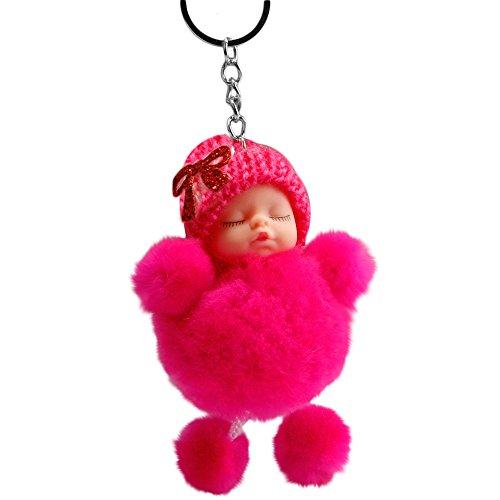 Quaan Niedliche schlafende Babyfliege Flauschige Pompon Pelz Plüsch Puppe Keychain Keyring Schlüsselanhänger - Plüsch-pferd Lebensgroße