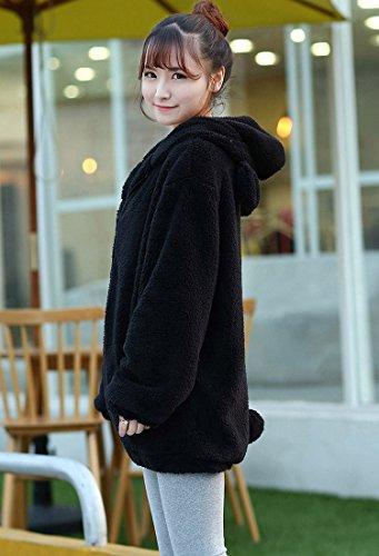 baiou Double velours hiver drôle en peluche doux pull ours ou manteau de forme d'oreille de lapin avec de belles Hoodies queue de lapin black bear