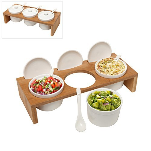 (3 Pcs) 3.5-Inch Ceramic Condiment Dip Sauce Ramekins Set w/ Lids & Spoons on Bamboo Sampler Serving Tray by MyGift (Tray Mit Condiment Deckel)