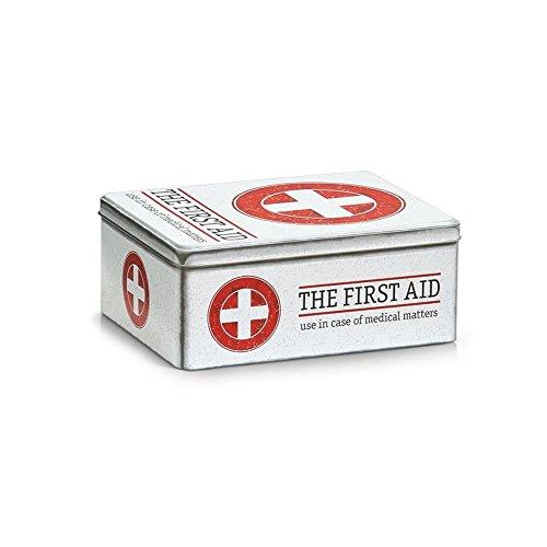 "Zeller 19222 Medizin-Box ""First Aid"" Metall 21 x 16,6 x 8,5 cm weiß/rot"