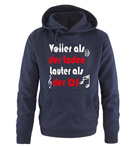 Comedy Shirts - VOLLER als der Laden - LAUTER als der DJ! - Herren Hoodie in Navy/Weiss-Rot Gr. XXL