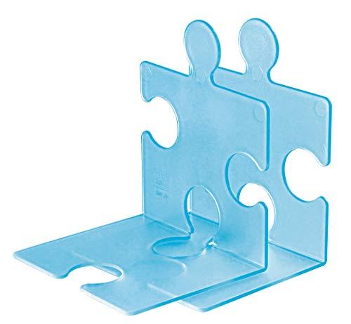 chstütze PUZZLE 9212-64 in Transluzent-Blau / Standfester, kombinierbarer Stehsammler in modernem Puzzle-Look / Für CDs, Bücher & DVDs ()