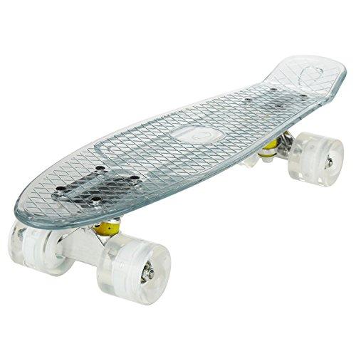 WeSkate Mini Skateboard 22 Plastic Complete Cruiser Skate Board mit LED Leuchtrollen