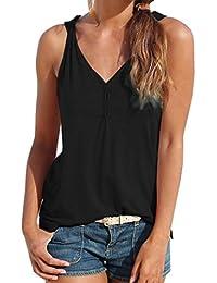 SANFASHION Femme Tank Top Chic Débardeurs Ete Haut Amincissant T-Shirt Élégant Casual Florale Sport Basique