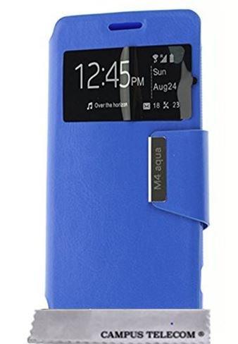 Etui Housse Pochette Folio BLEU Sony Xperia M4 Aqua et Aqua Dual avec fenêtre by D&C®