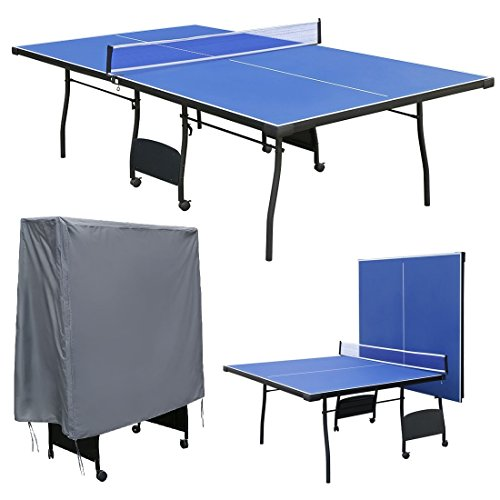 Interior y Exterior para azul tamaño completo de mesa de tenis de mesa plegable mesa de ping pong con resistente al agua funda con cremallera para mesa de ping pong