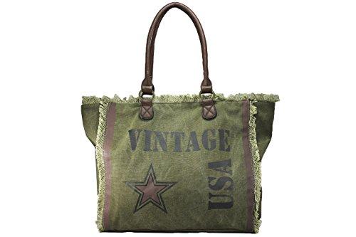 FERETI borse verde donna grande con design di stampa Star vintage moda