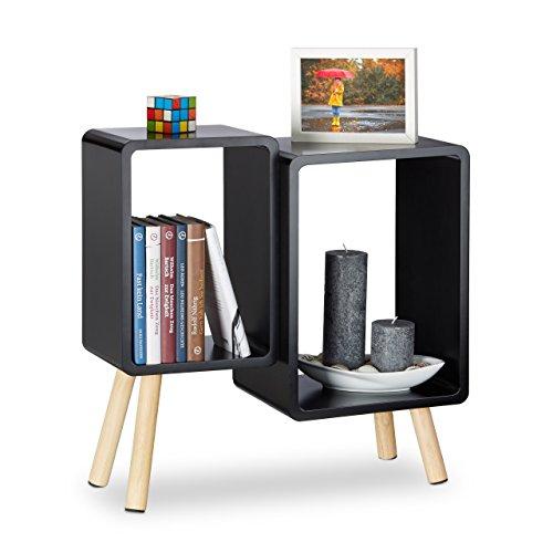 Relaxdays Würfelregal 2 Fächer, Retro Cubes mit Beinen, dekorativer Beistelltisch, Holzregal HBT 55,5x55x24 cm, schwarz Schwarz Bücherregal Nachttisch