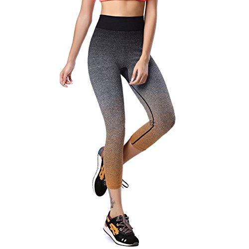 ESHOO Femmes Pantalon de sport Leggings Athletic Gym Workout Fitness Yoga Pants Orange