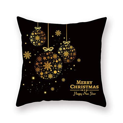 htfrgeds Farmhouse Christmas Throw Pillow Case Christmas Quotes Deer Snowflake Christmas Tree Holiday Cojín Decorativo Funda de algodón de Lino 17.72 'x 17.72'