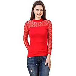 LE BOURGEOIS Red color body with net yoke full sleeve high neck top for women