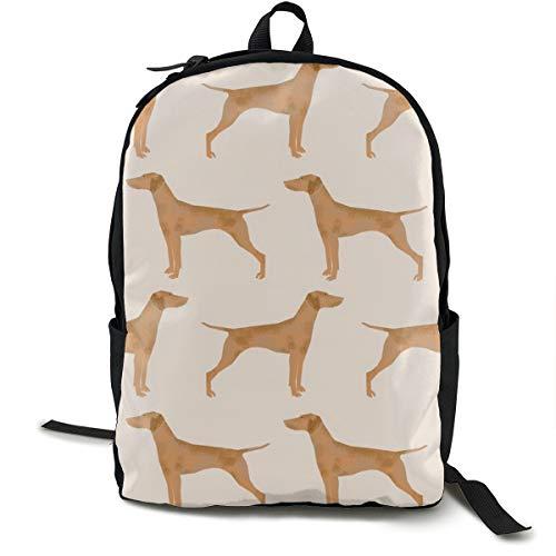 Vizsla Dog Cute Pet Dog Fabrics Sweet Dogs Adult Premium Travel Backpack, Water-Resistant College School Bookbag, Sport Daypack, Outdoor Rucksack, Laptop Bag for Men&Women -