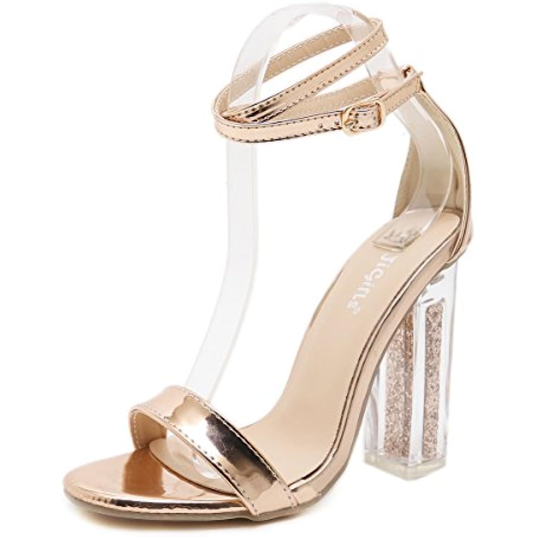 Chaussures  s Femmes Talon Haut Bout avec Ouvert Crystal épais avec Bout la Boucle de Ceinture de Sécurité Marche - B07DDK3X58 - 81cb12