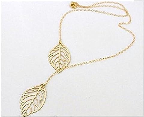 - Einzigartiger Modeschmuck, Halskette mit silber- oder goldfarbenem doppelten Blatt-Anhänger,
