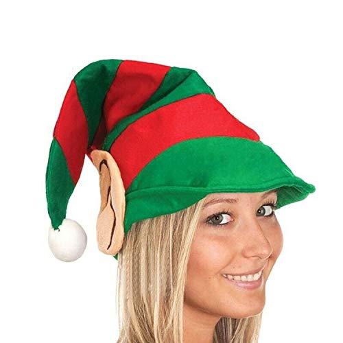 QGPWHLS Elf Hut Gestreift Party Stirnband Santa Hut Mit Ohren Party Weihnachten Headwear (Für Erwachsene Santa's Grüne Helfer Weihnachten Kostüm)