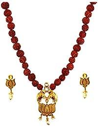 Mehrunnisa Lotus Pendant With Rudraksh Beads Necklace & Earrings Set (JWL2219)