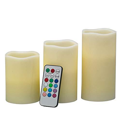 Chengjellylibrary 3 Pzas sin Llama LED Velas Parpadeante Cambia de Color Velas Luz Batería Operar con Mando a Distancia
