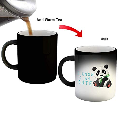 SCPmarts Create Your DesireTM I Know I Am Cute Panda Printed Magic Mug- Color Changing Mug- Gift for Kids by SCPmartsTM