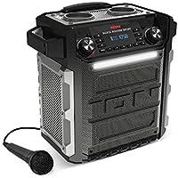 ION Audio Block Rocker Sport - 100 Watt-starker, tragbarer, batteriebetriebener Lautsprecher mit IPX4 wasserfestes Gehäuse, LED-Lichtbalken, AM/FM Radio, Aux-Eingang, Bluetooth Verbindung und Mikrofon