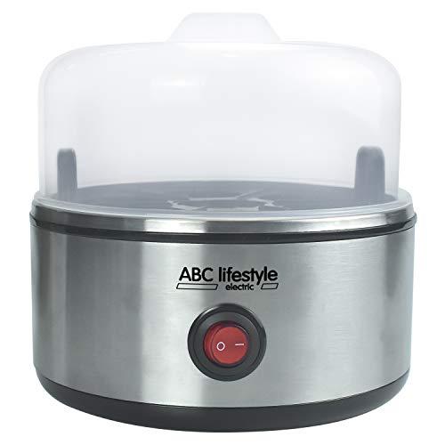 ABC Lifestyle Rapid Eierkocher - Edelstahl, ein Eierkocher mit maximal 7 Eiern und Wasserstandsanzeige, pochierte Eier-Tablett, perfekt für Ketogene Diät