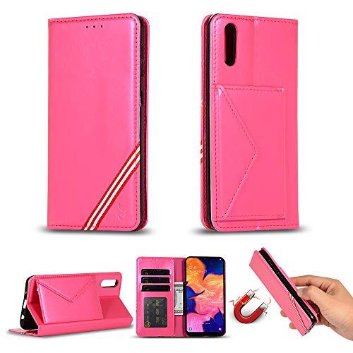 Miagon für Samsung Galaxy M10 Hülle,Wallet Case Cover Schutzhülle und Klapp Magnetisch Flip Bumper Ledertasche Schutzhülle,Rose Rot