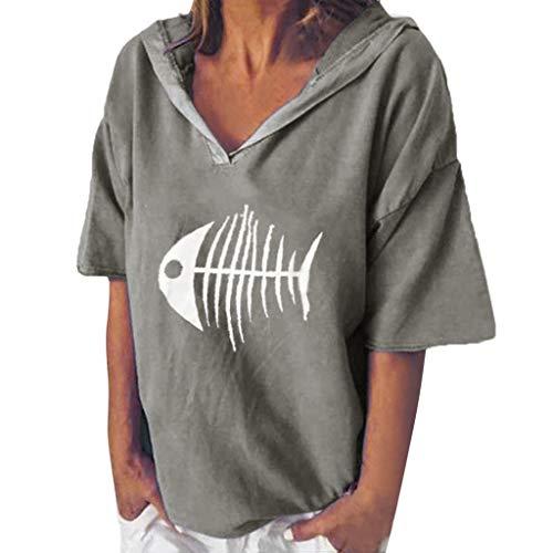 POPLY Bluse Shirt für Damen Frauen Einfach Kurzarm Hoodie Beiläufige Kapuzenpullover V-Ansatz Fisch Knochen Gedruckte mit Kapuze Oberseiten T-Shirt (Grau,L)