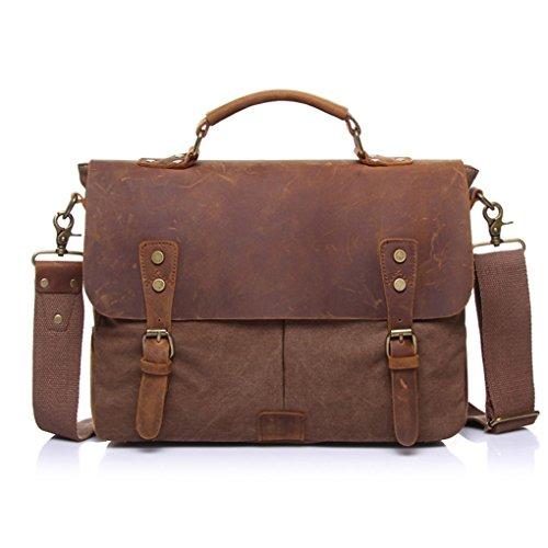 QHGstore Vintage-Umhängetasche Tasche Leinwand-Schultertasche Messenger Bag Handtasche kaffee