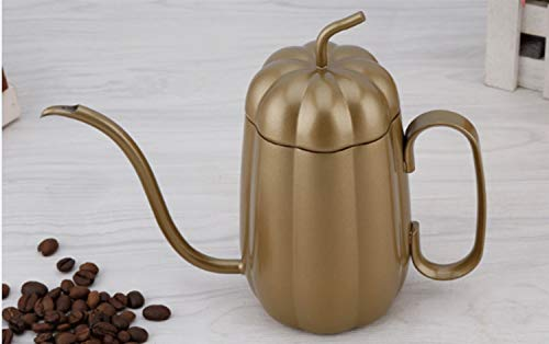 WEATLY Handgewaschen Kaffee Topf Kürbis Form 304 Edelstahl Teflon Fine Mouth Pot Hängende Ohr Kaffee Hand Rushing Palace Pot (Color : Coffee)