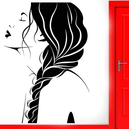 guijiumai Friseursalon wandtattoo Fenster Aufkleber schönheitssalon Frau Gesicht frisur Vinyl Aufkleber Rolle DIY wandbilder wasserdicht rot 42x67cm