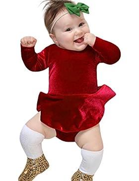 Strampler Kleinkind Kinder, DoraMe Neugeborenen Baby Mädchen Lange ärmel Solide Jumpsuit Velour Kleid Outfits...