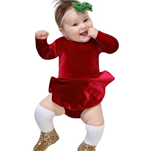 Kinder, DoraMe Neugeborenen Baby Mädchen Lange ärmel Solide Jumpsuit Velour Kleid Outfits Kleidung O-Ausschnitt Mode Prinzessin Kleid Für 6-24 Monate (Rot, 3 Monate) (Rote Bodys Halloween)