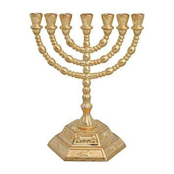 Menorá 12 tribus Israel 7 brazos base hexagonal