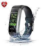 Novvaya Fitness Uhr mit Pulsmesser für Damen & Herren - Smart-Watch Wasserdicht IP68 mit Schrittzähler & Aktivitätstracker - Fitness Tracker mit Herzfrequenz - Pulsuhr - Anruf, SMS für iOS & Android