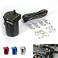 RuleaxAsi 1# Aluminum Engine Black Baffled Oil Catch Can Tank Reservoir Breather With Fittings Solid