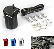 Docooler Aluminum Engine Black Baffled Oil Catch Can Tank Reservoir Breather With Fittings Solid