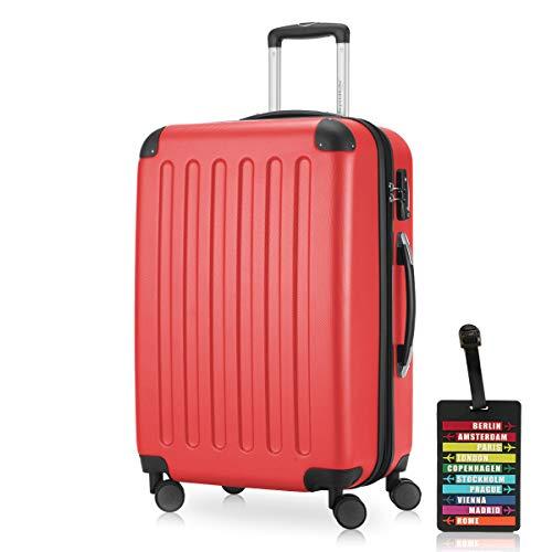 Hauptstadtkoffer - Spree Hartschalen-Koffer Koffer Trolley Rollkoffer Reisekoffer Erweiterbar, 4 Rollen, TSA, 65 cm, 74 Liter, Rot +Design Kofferanhänger