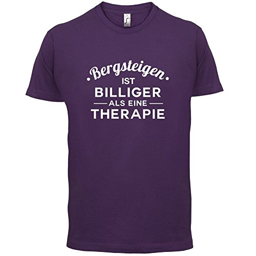 Bergsteigen ist billiger als eine Therapie - Herren T-Shirt - 13 Farben Lila