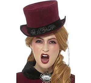 Smiffys-48309 Sombrero Deluxe de vampiresa Victoriana, Burdeos, con Velo, Color borgoña, Tamaño único (Smiffy