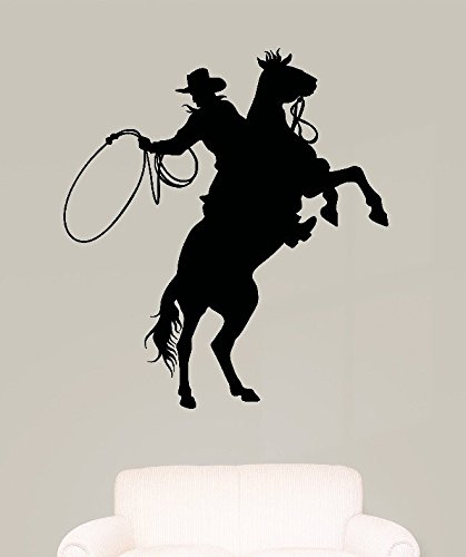 Design with Vinyl RAD 582 3 Western Cowboy Horse Lead Rope Silhouette Vinyl Wall Decal, Black, 20 x 30 by Design with Vinyl (Silhouette Cowboy 3)
