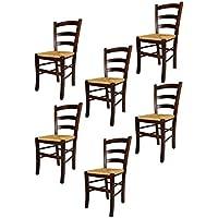 Tommychairs sillas de Design - Set de 6 Sillas Venezia de Cocina, Comedor, Bar y Restaurante, con Estructura en Madera Color Nuez, con Asiento en Paja
