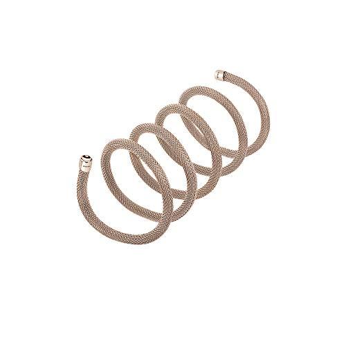 Breil - collana bracciale donna collezione new snake tj2718 - gioiello modellabile in maglia mesh metallica di acciaio - lunghezza 80 cm - oro rosa/gold rose