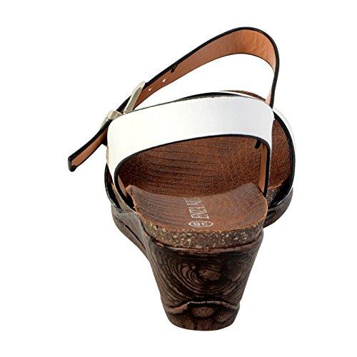 Sandale Compensée Enza Nucci JX2845 Blanc Blanc