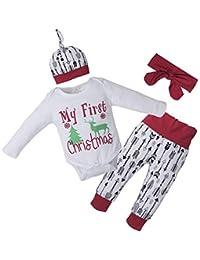Conjunto de pijamas de Navidad Conjunto de ropa de niña niño Primer mameluco de Navidad y pantalón largo y sombrero y diadema 4 piezas Ropa
